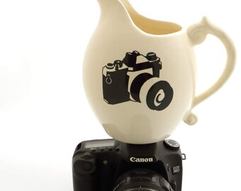 Camera pitcher - gift for photographer - funny gift for photographer - wedding photos - ceramic pitcher - puns - camera - SALE