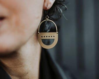Tata Brass Shield Earrings
