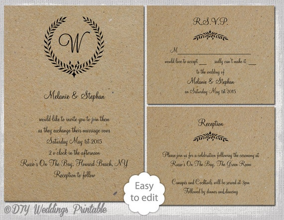 Rustic Wedding invitation set Leaf Garland