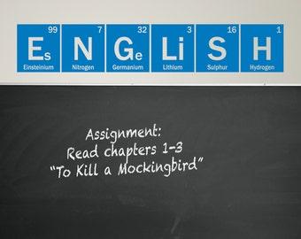 English Decal, periodic table of elements, classroom decor, teacher decal, element vinyl decal, school decor