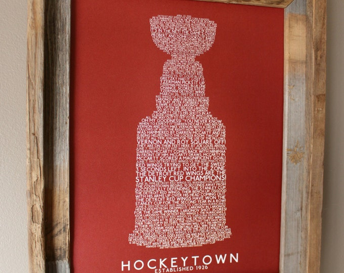Great Calls of Hockeytown (Detroit Red Wings) Stanley Cup Word Art (Dark Red) - Unframed