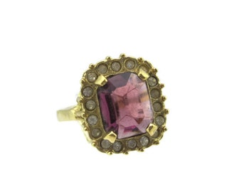 Vintage 14k HGE Gold Emerald Cut Amethyst  Austrian Crystal Cocktail Ring Signed GS Size 8