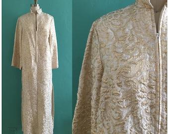 vintage 60's gold brocade house coat // gold hostess dress