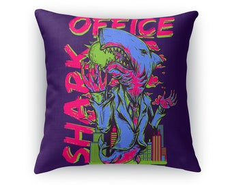 Office Shark Aubergine Purple Throw Pillow