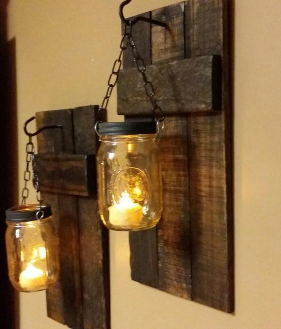 Stargaze Set Of 2 Hanging Mason Jar Pendant Lights By: Mason Jar Wood Candle Holder Rustic Decor Sconce