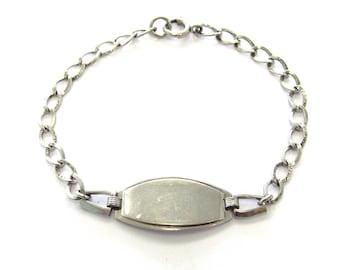 """Vintage Sterling Silver Patterned Curb Link Engraveable ID Bracelet, 7"""" long"""