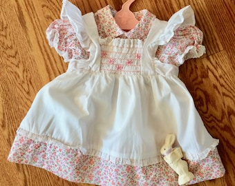 Polly Flinders 24 months dress, hand smocked, pinafore, pink and white, vintage Easter first birthday dress