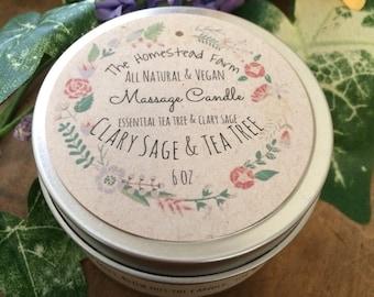 Clary Sage & Tea Tree Massage Candle 6oz. Vegan All Natural