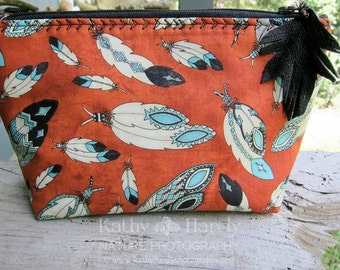 Zippered Pouch | Makeup Bag | Lined Zipper Bag | Colorful Feather Fabric | Native Amercian Print | Small Gift Under 20 | Personal Items Bag