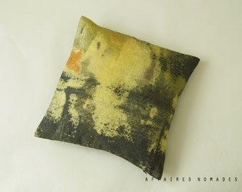 "Linen. Decorative cushion cover square 14""x14"" Vintage influense. Yellow .. / RETRO-MODERN"