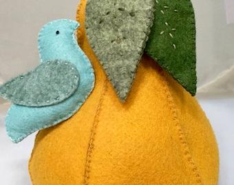Handmade Wool Felt Pear Pincushion With Blue Bird Pin