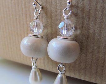 White Polymer Clay, Swarovski Crystal and Pearl Beaded Sterling Silver Earrings - BeadedTail - Wedding