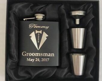 Groomsmen Gifts - Groomsmen Flask Gift Sets - Groomsman Gift - Groomsmen Flask Kit -  Groomsmen Flask -  Wedding Party Gift - Tuxedo