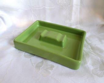 1960s Retro Avocado Green Ceramic Ashtray / Vintage Ashtray / Kitsch / Vintage Collectibles / Mid Century Decor / Smoking Collectibles