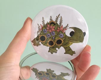 Tortoise pocket mirror, cute makeup mirror, mirror, gift for her, tortoise Mirror, stocking filler