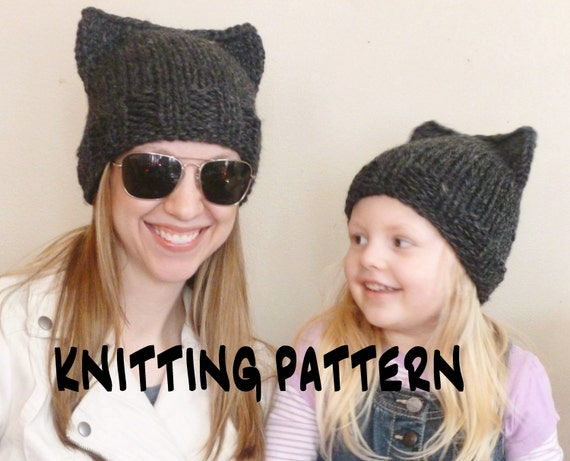 Cat Hat KNITTING PATTERN, Cat Beanie Knit Pattern, Cat Ears Knitting ...