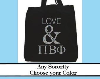 Love & Greek Letter Canvas Tote- Sorority tote bid day sorority tote bag