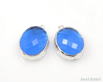 Cobalt Blue Glass and Silver Framed Oval Pendent - 2pcs Cobalt Blue Glass Pendant, Earrings Jewelry Pendant / 12 x 16mm / SCTS009-P