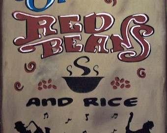 New Orleans Red Beans and Rice Crawfish Rustic Primitive Country Distressed Wood Sign Home Decor