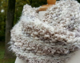 Chunky Knitted Cowl, Warm Knitted Neck Warmer, Tube Scarf, Infinity Scarf, Cozy Cowl,  Cream Colored Cowl,
