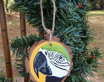 Parrot Hand painted wood slice ornament