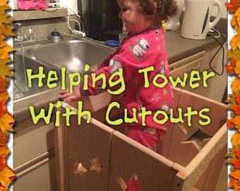 Montessori Kitchen Helper Stool Toddler Tower Wood Step