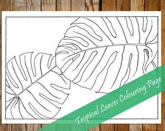 Tropical Leaves Printable Colouring Page - Instant Digital Download Colouring Page
