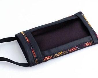 Cell Phone Pouch, Fabric Cell Phone Pouch, Cell Phone Cross Body Bag, Cell Phone Purse, Mini Cross Body Bag, Handbags, Black & Yellow Plaid