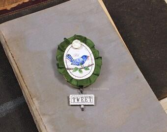 Stitched Paper Mache Brooch Pin Bird Brooch Book Jewelry Miniature Wall Art Sculpture
