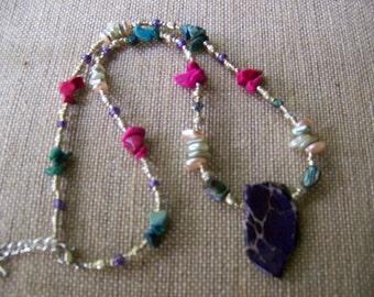 Stone Pendant Necklace,Natural Stone Necklace,Purple pendant,Tribal Jewelry,Jasper Jewelry,beach jewelry,fantasy necklace,stone jewelry,#111
