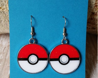 Pokeball Inspired Charm Dangle Earrings - Flat Rate Shipping in US!  Great Gift or Treat Yourself