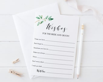 Wishes For the Bride and Groom, Wedding Advice Cards, Printable, Greenery Wedding, Eucalyptus Bridal Shower Game, Instant Download - GN1