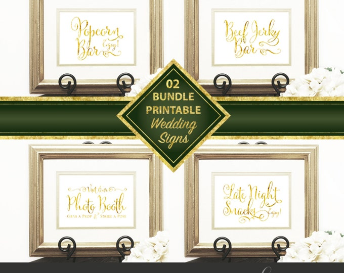 Wedding Signs Bundle 02, Popcorn Bar, Photo Booth, Late Night Snacks, Beef Jerky Bar, Gold Script, Downloadable, Print it yourself.