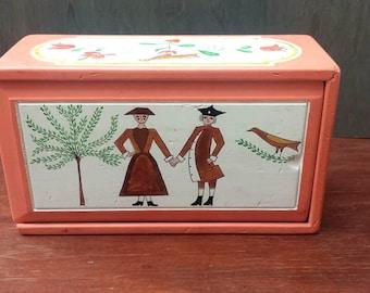 Vintage Handmade, Hand painted Box. Folk Art, Americana, Orange Craft, Storage, Display Box