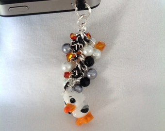 Seagull cell phone charm, head phone jack charm, dust plug charm, iphone charm, ipad charm, galaxy 3 cell phone charm