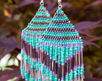 Turquiose Lavender Lilac Silver Metal Native American Seed Bead Earrings