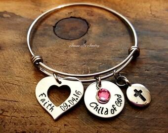 Baptism Gift, First Holy Communion Bangle Bracelet, Girls Religious Gift, Holy Confirmation, First Communion Bracelet, Baptisim Jewelry