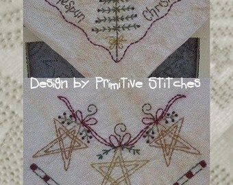 Homespun Christmas Bread Cloth-Primitive Stitchery-Instant Download
