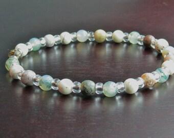 Magnesite, Moss Agate & Ocean Jasper Healing Stone Bracelet or Anklet!