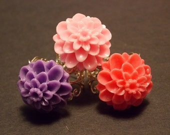 Adjustable Flower Rings- Choose Your Color