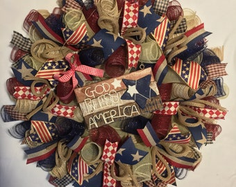 SALE Patriotic wreath, 4th of July wreath, God Bless America wreath, rustic patriotic decor, 4th of July decor, rustic fourth of july wreath