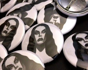 "vampira tattoo flash button - 1.5"""