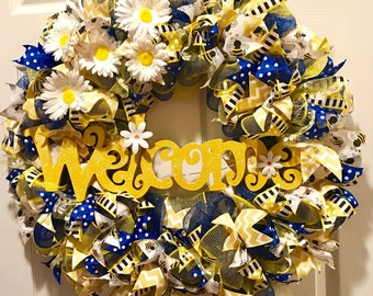 Welcome Blue/Yellow spring bee wreath