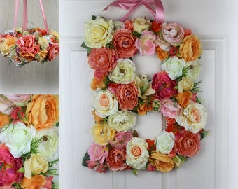 Flower Letters Large Floral Letter Coral Pink Peach Wedding Decor Personalized Nursery Wall Decor Photography Prop Wall art Bridal shower