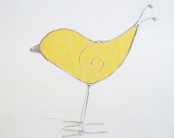 Stained Glass- Standing Yellow Bird- Sun Catcher- Home Decor