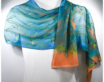 "Bamboo Silk Scarf. 14""x68"". Painted silk scarves. Vine silk scarf. Leaf silk scarf. Hand-painted silk scarves. Hand painted silk scarves"