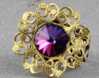 Handmade Swarovski Crystal Vitrial Rivoli and Brass Filigree Fashion Ring Adjustable Size Fits most 5-11 Oscarcrow