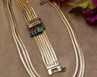 Francois CORO, Monet, Necklace, Bracelet, Gold Square Triple Strand Francois Necklace, Monet Square 6 Strand Bracelet, Gem Accents, Nice Set