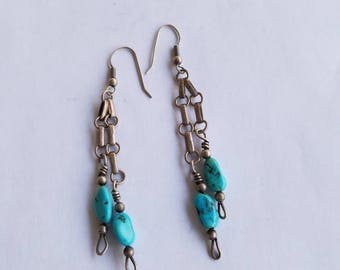 Vintage turquoise and silver dangle earrings from 1980s