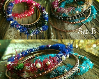 Vibrant Sari silk wrapped bangle bracelet sets!